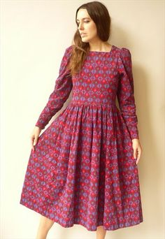 1980's+Vintage+Laura+Ashley+Tile+Pattern+Cord+Midi+Dress
