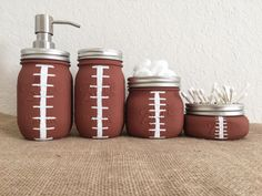 Football Bathroom Mason Jars Set Gift For Him Fathers Day