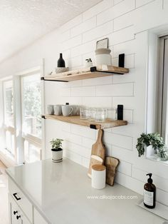 kitchen open shelving - a step by step guide detailing how to create wood shelve. kitchen open shelving - a step by step guide detailing how to create wood shelves with metal brackets Diy Wood Shelves, Floating Shelves Diy, Shelving Brackets, Shelves On Wall, Shelf Brackets Farmhouse, Hanging Wood Shelves, Wood And Metal Shelves, Rustic Shelving, House Shelves