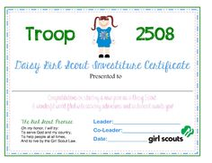 Daisy investiture certificate for Girl scout award certificate templates