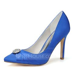 [US$ 43.99] Women's Satin Stiletto Heel Closed Toe Pumps With Rhinestone (047059941)