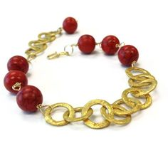 Red Bracelet Turquoise Bracelet Red and Gold by jewelrybycarmal, $35.00