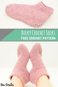 Bulky Crochet Socks: Free Crochet Pattern | Nea Creates