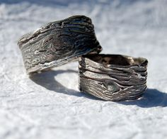 Tree Bark Rings Wide 1/2 in CLUN FOREST Wedding Bands SET Tree knot Fine Silver His and Hers Ecofriendly via Etsy