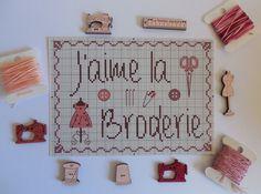 Carte postale j'aime la broderie pour brodeuses : Papeterie, carterie par broderiesab