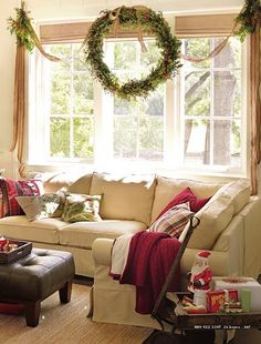 Large wreath and swags for picture window