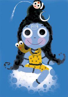 Baby Krishna, Krishna Art, Indian Drawing, Lord Shiva Hd Images, Indian Artwork, Om Namah Shivay, Hindu Deities, Hinduism, Lord Mahadev