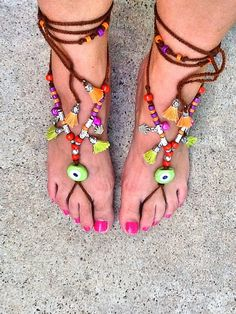 FOOTLESS  SANDALS  Gypsy sandals Bohemian footless by Nezihe1