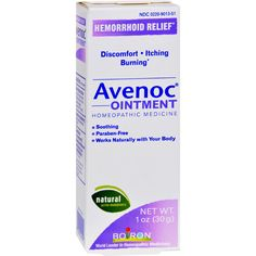 Boiron Avenoc Ointment - 1 oz - Boiron Avenoc Ointment Description:  Avenoc Ointment for HemorrhoidsSorenessItchingBurning Avenoc Ointment combines homeopathic medicines traditionally used to relieve minor symptoms of hemorrhoids such as soreness itching and burning. Regulated as drugs by the FDA homeopathic medicines are safe and reliable.  Avenoc Ointment is made by Boiron the world leader in homeopathy. For more than 65 years Boiron has been committed to funding scientific research and…