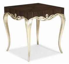 It's Hip 2 B Square. This square side table is loaded with style! Graceful cabriole legs and a ribboned border in Oracle Silver give this table a serious leg up in the world of side tables. Caracole Furniture, Fine Furniture, Table Furniture, Luxury Furniture, Modern Furniture, Furniture Design, Small Coffee Table, Coffe Table, Deco Baroque