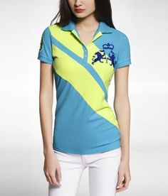 NEON EMBROIDERED DIAGONAL STRIPE PIQUE POLO at Express