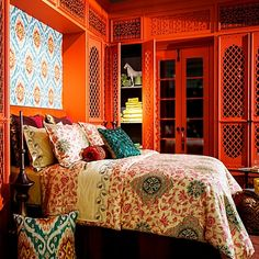Moroccan feel :) Out of all the ones I've seen, this one is my favorite. A colorful bedroom would be so vibrant and wonderful
