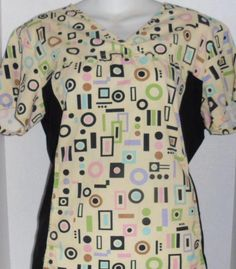 CHEROKEE FLEXIBLES GEOMETRIC PRINT VET DENTAL NURSE UNIFORM SCRUB TOP SHIRT MED #Cherokee Stylish Scrubs, Nursing Scrubs, Pink Panthers, Scrub Tops, Cherokee, Dental, Printer, Floral Prints, Shirts