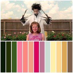 Edward Scissorhands Movie, Movie Color Palette, Colour Palettes, Color In Film, Tim Burton Beetlejuice, Cinema Colours, Color Script, Iphone App Design, Color Grading