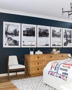 """Emily Henderson ( : """"Art that has personal significance is always the best kind of art. It makes your home feel, well,…"""" dark blue walls, wallart - bedroom Home Design, Interior Design, Design Ideas, Grey Furniture, Home Furniture, Furniture Design, Master Bedroom, Bedroom Decor, Bedroom Ideas"""