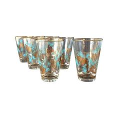 50s Pinecone Lowball Glasses - Turquoise & Gold on Chairish.com
