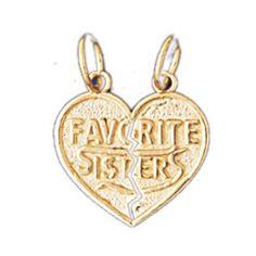 14K GOLD SAYING CHARM - FAVORITE SISTER #9936