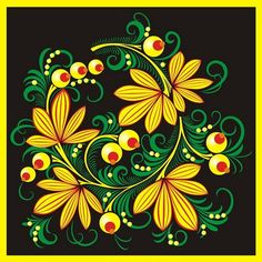 Folk Khokhloma painting from Russia. Pattern with leaves. #art #folk #painting…