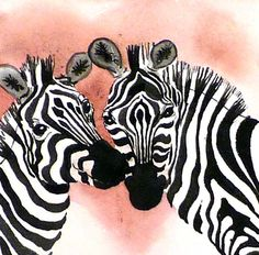...Zebra Art Watercolor Painting Print Zoo Romantic by LaBerge