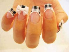 easy nails with ribbon pearl - 35 Unique Nail Designs