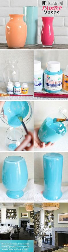 DIY Enamel Painted Vases (in a hurry just use craft paint  on Dollar Store vases and slip another glass inside to hold water)