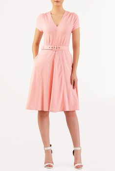 I <3 this Chevron stripe cotton knit belted dress from eShakti