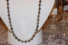 Gray Cut Edge Glass Beaded Necklace with by AngeleDesignsLA