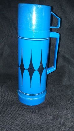 Vintage Blue Aladdin Thermos Vacuum Bottle Diamond 1 U.S. Pint Camping Hiking #Aladdin