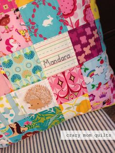 crazy mom quilts: a personalized pillow