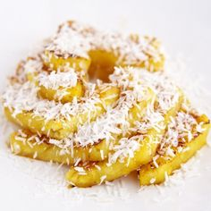 Seared Pineapple and Unsweetened Coconut Flakes make the most Delicious Healthy Dessert.