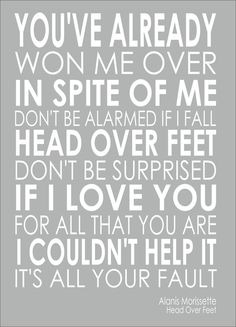 Alanis Morissette - Head Over Word Words Song Lyric Lyrics Wall Art Typography