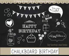 Clip arts chalkboard Happy Birthday clip arts от 1burlapandlace