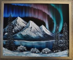 Northern Lights Bob Ross painting by lanicoise, via Flickr