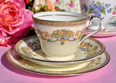 Aynsley Henley Vintage China Teacup Trio