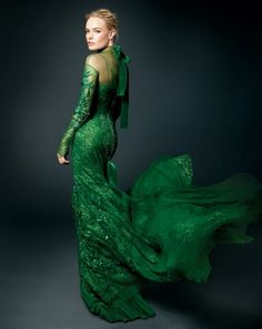 Kate Bosworth in Tom Ford's exquisite emerald green lace