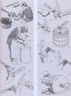 En økse bliver smedet, vikingetid – Eine Axt wird geschmiedet, Wikingerzeit – Smith's work, Viking Age