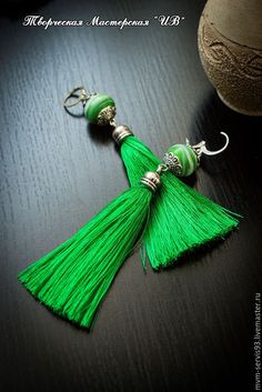 Купить Серьги-кисточки Сочная Зелень - ярко-зелёный, зеленый, серьги-кисточки, серьги, кисточка