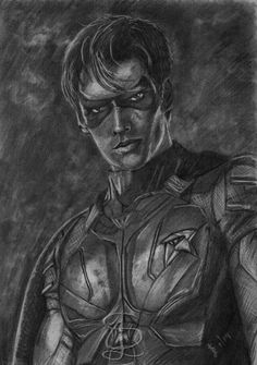 Brenton Thwaites as Dick Grayson/Robin in the 'Titans' TV series. Freehand sketch using HB pencil and eraser. Comic Book Heroes, Comic Books, Titans Tv Series, Brenton Thwaites, Robin, Pencil, Batman, Sketches, Superhero