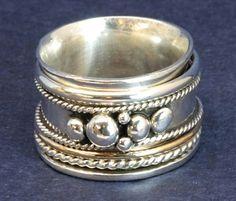 Sterling Silver Spinner Ring Secret Message Size 8.5 Fidget Ring - On Artfire