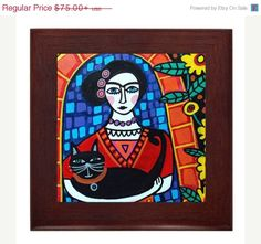 By Heather Gallery Art at etsy.com Hey, I found this really awesome Etsy listing at https://www.etsy.com/listing/177133783/30-off-today-frida-kahlo-art-framed