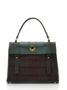 I adore this design, such a wonderful sheen with embossed leather with suede trim and slip pocket at back / Muse Two Embossed Satchel by YSL on Gilt.com