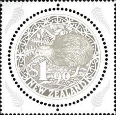 Circular kiwi stamp