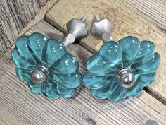 "2 curtain draperytie backs old Aqua blue green glass flower vintage 3"" diameter"