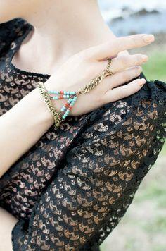 Handchain Turquoise Slave Bracelet Beaded by francisfrank on Etsy, $26.00