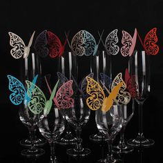 10 100 Butterfly Name Place Card Wedding Party Table Mark Wine Glass Decor Favor | eBay