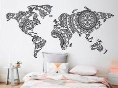 Mandala World Map Wall Sticker Bedroom Decor Yoga Wall Vinyl Art Pattern Wall Decal Modern Boho Style Home Decor Mural Room Wall Decor, Home Decor Bedroom, Bedroom Wall, Design Oriental, Motif Oriental, World Map Wall Decal, World Map Art, World Map Sticker, World Map Design