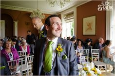 Groom waits for bride Taitlands Wedding photography  Tux & Tales Photography of York