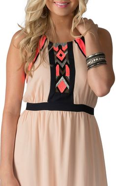 Karlie Peach with Navy and Neon Pink Chiffon Maxi