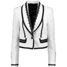 Dolce & Gabbana - Embroidered Cotton-blend Jacquard Jacket ($1,425) ❤ liked on Polyvore featuring outerwear, jackets, dolce & gabbana, tops, white, embroidered jacket, dolce gabbana jacket, embroidery jackets, jacquard jacket and white jacket