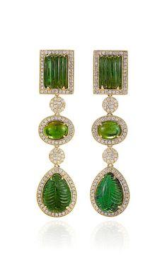 Green Tourmaline And Diamonds Earrings In Yellow Gold by Dana Rebecca for Preorder on Moda Operandi